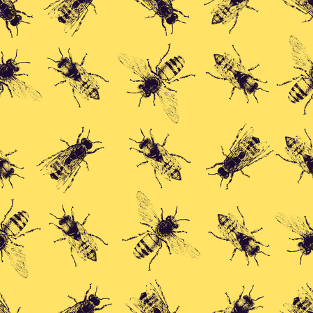 inteligent: Vector seamless pattern with crawling bees. Vintage style. Inteligent illustration