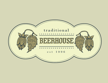 beerhouse: Original vintage retro line art badge for beer house, bar, pub, brewing company, brewery, tavern, taproom, alehouse, beerhouse, dramshop restaurant Illustration
