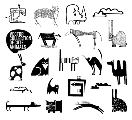 the children s: Set of vector animals in cartoon style. A collection of small animals in the children s style. Illustration