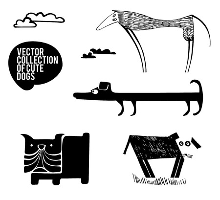 dane: Set of silhouette dogs breeds, hand drawn Illustration