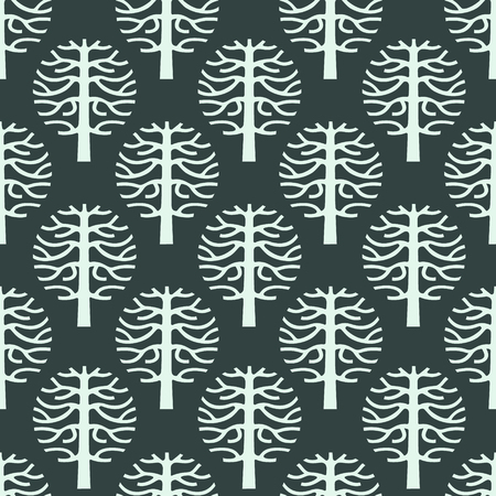 cultivating: original seamless pattern with vector tree silhouette