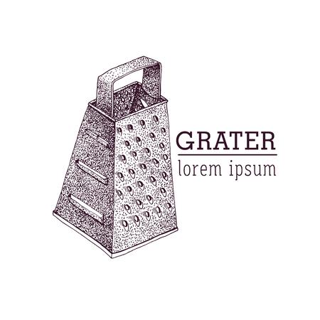 Vector grater illustration. Hand drawn Vintage logo.
