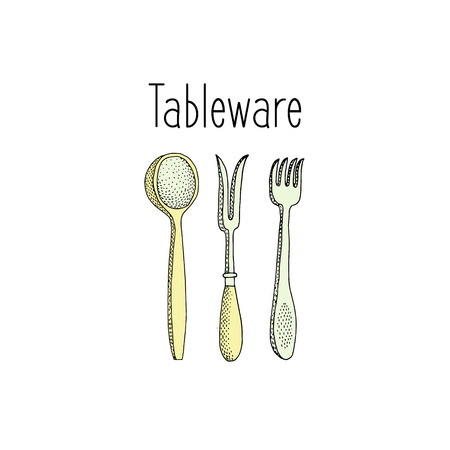 spoon fork: Cutlery set spoon, fork and knife. Sketch vector illustration