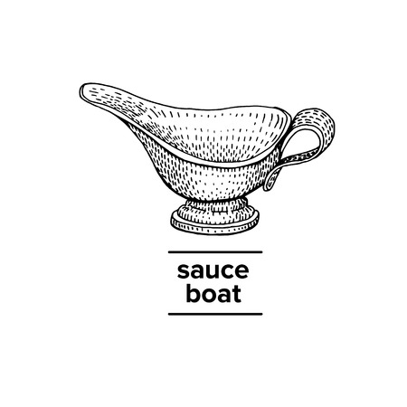Vector hand drawn illustration of sauce boat