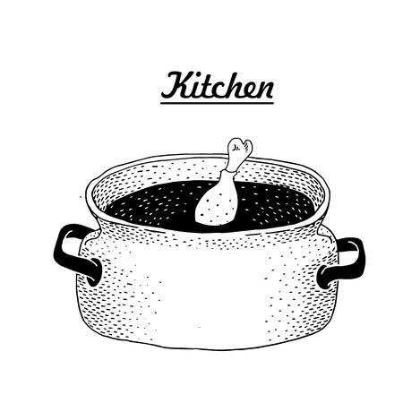 Hot pan isolated, saucepan. Vector.