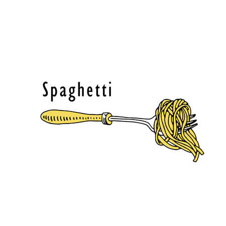 Spaghetti on fork. Vector vintage illustration isolated on white background.