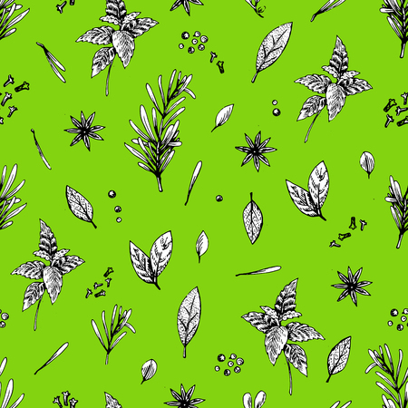 Vector seamless pattern with lime and spices.