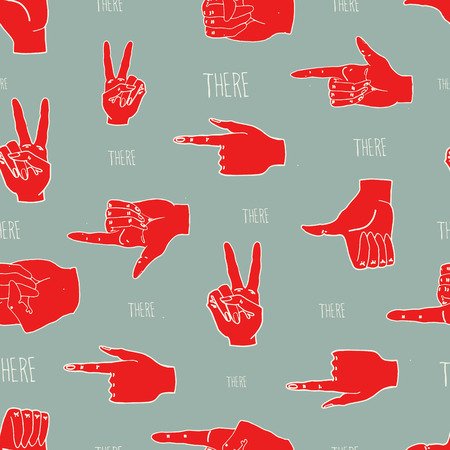 Seamless pattern with various hands gestures, showing direction. Stock Photo