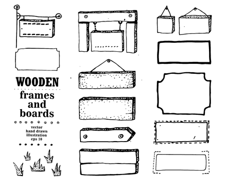 hand sign: Wooden signs, frames, boards. Vector icon set