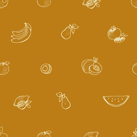 Seamless vector pattern with hand drawn fruit Illustration