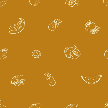 Seamless vector pattern with hand drawn fruit. Chalk Board