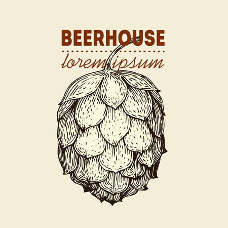 alehouse: Original vintage retro line art badge logo for beer house, bar, pub, brewing company, brewery, tavern, taproom, alehouse, beerhouse Illustration
