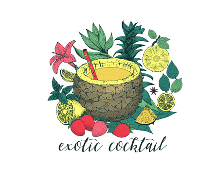 Hand drawn pineapple Vector illustration. Exotic coctail with lemon, strawberry, tropical plants. For banner, restaurant menu and market