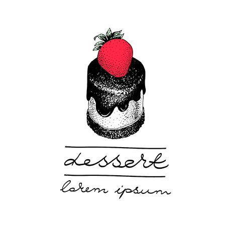 porcion de torta: plantilla de logotipo vectorial con un trozo de pastel con una baya. Se puede usar para panadería, pastelería, cafeterías, confiterías, cafeterías, tiendas y productos.