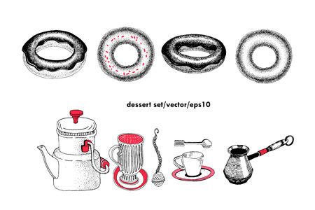 A vector desserts set . Can be use for bakery, pastry, coffee houses, confectioneries, cafe, shop and products. Vintage illustration