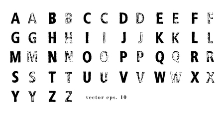 Vector latin alphabet. Lattin grange font. Modern print letters with stamp texture. Easy recolor.