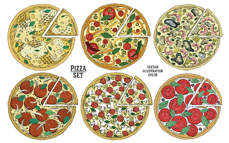 Italian Pizza hand drawn vector illustration set. Can be use for pizzeria, cafe, shop, restaurant.