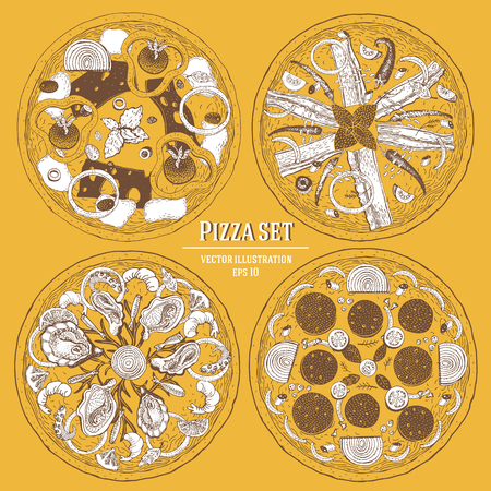 Italian Pizza hand drawn vector illustration set. Can be use for pizzeria, cafe. Illustration