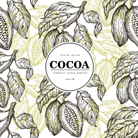 カカオ豆はベクターのシームレスなパターンです。レトロなスタイルのイラストが刻まれました。チョコレートのカカオ豆。バナー テンプレート。  イラスト・ベクター素材