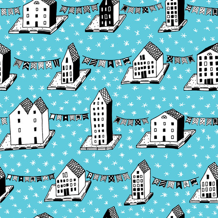 Vector christmas seamless pattern with hand drawn houses and ornaments. Can be printed and used as wrapping paper, wallpaper, textile, card. EPS 10
