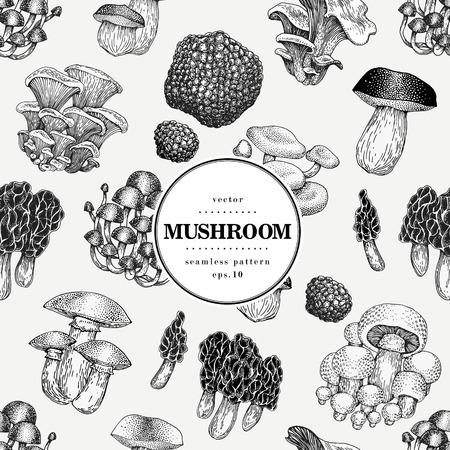 Bezszwowe wektor wzór z grzybami. Ręcznie rysowane tła z różnymi rodzajami grzybów. Szablon transparent wektor. Vintage ilustracji.