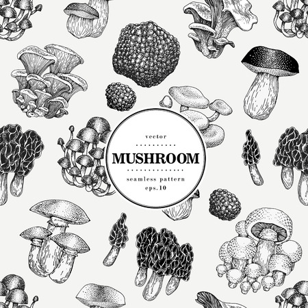Seamless vector pattern with mushrooms. Hand drawn background with different fungus kinds. Vector banner template. Vintage illustration. Vettoriali