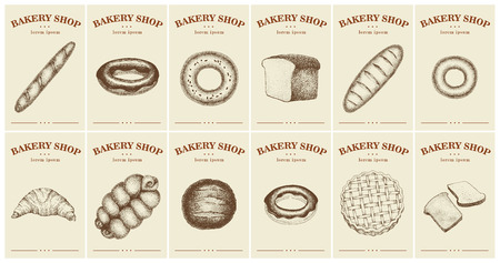 Labels with bread and pastries. Set templates price tags for bakery shop. Vector vintage illustrations in hand drawn style