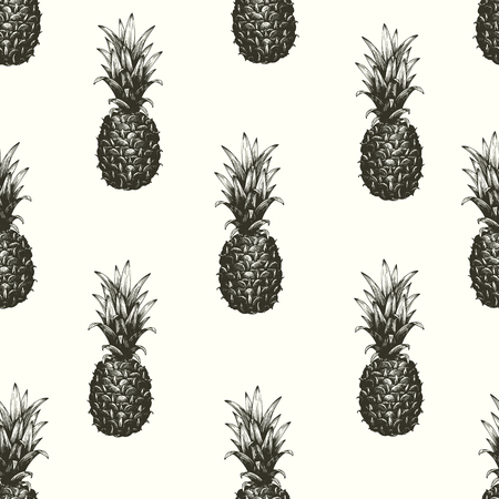 hand drawn seamless pattern with pineapple.