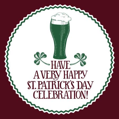 Hand drawn vector St. Patricks Day greeting card with beer mug and clover. Irish vintage illustration.