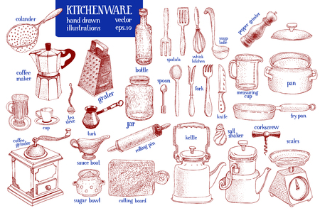 Kitchenware set. Hand drawn vector tableware and kitchen utensils illustration set. Sketch style.