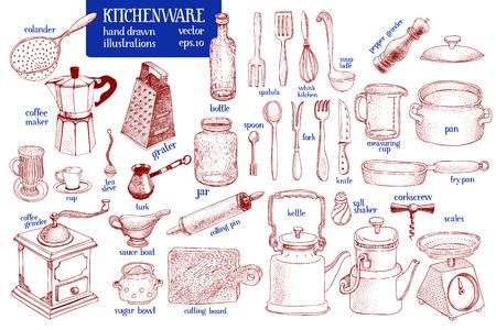 Kitchenware set. Hand drawn vector tableware and kitchen utensils illustration set. Sketch style.
