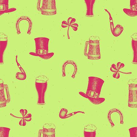 Hand drawn vector seamless pattern with leprechaun hat, clover, beer mug, barrel, golden coin pot for St. Patrick's Day. Irish retro illustration. Vettoriali