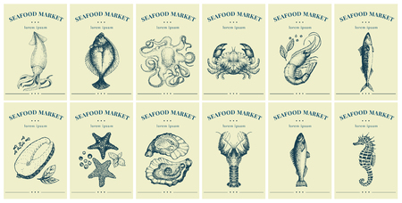 Labels with seafood and fishes. Set templates price tags for shops and markets of organic food.