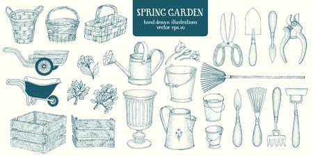 Big set of hand drawn sketch garden elements. Gardening tools. Engrave style vintage illustrations.  イラスト・ベクター素材