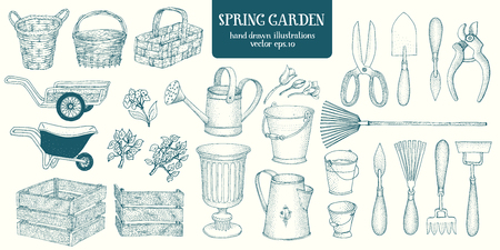 Big set of hand drawn sketch garden elements. Gardening tools. Engrave style vintage illustrations. Illustration