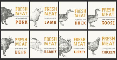 Labels with farm animals. Set templates price tags for shops and markets of organic food. Vector vintage illustration art. Hand drawn animals.