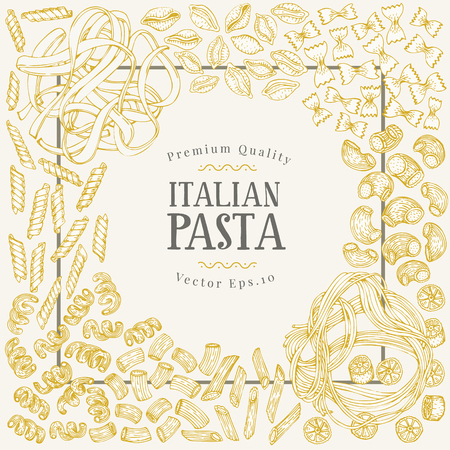 Vector banner template with different types of traditional Italian pasta. Hand drawn background. Can be use for menu or packaging design. Italian cuisine illustration. Ilustração
