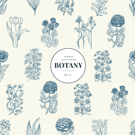 Seamless botanical pattern in vintage style. Retro illustration. Vector design template. Floral background.  イラスト・ベクター素材