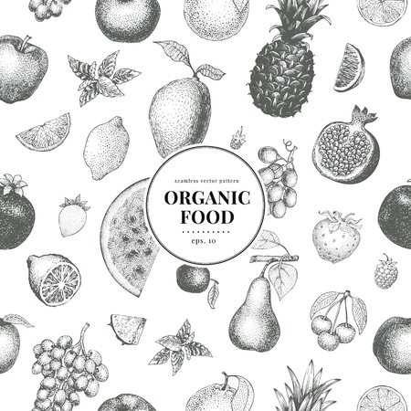 Fruits hand drawn vector seamless pattern. Banner template. Vintage Fruit engraved style background. Vettoriali