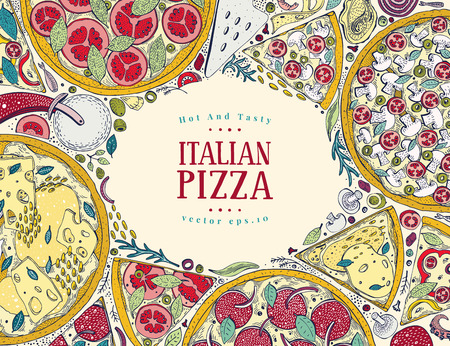 Vintage Italian pizza box with colorful design frame. Illustration