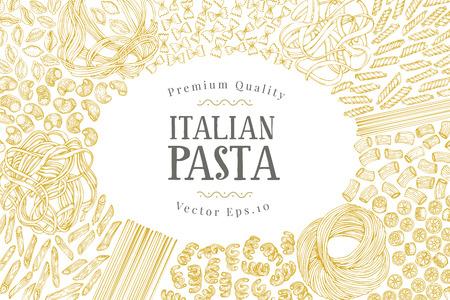Modello di banner vettoriale con diversi tipi di pasta tradizionale italiana. Sfondo vettoriale disegnato a mano Può essere utilizzato per menu o packaging design. Illustrazione di cucina italiana. Vettoriali