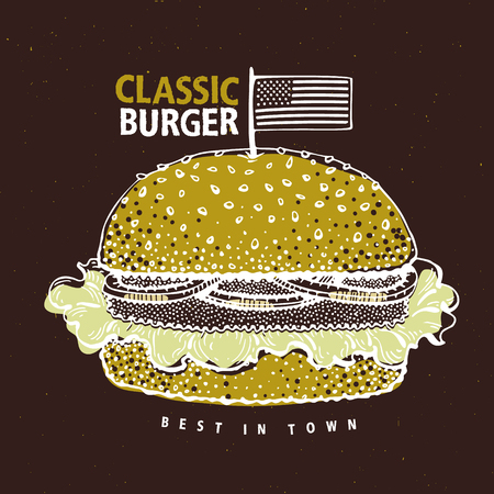Vintage fast food hamburger poster. Hand drawn food illustration with classic american burger. Can be use for fast food, snack and takeaway menu and banner. Illustration