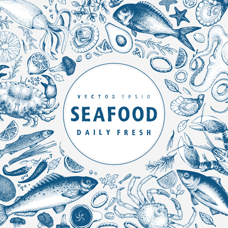 Seafood vector frame illustration. Can be use for restaurants menu, cover, packaging. Retro hand drawn banner template. Vintage background. Standard-Bild - 101211977