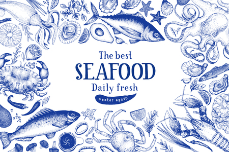 Seafood vector frame illustration. Can be use for restaurants menu, cover, packaging. Vintage hand drawn banner template. Retro background.