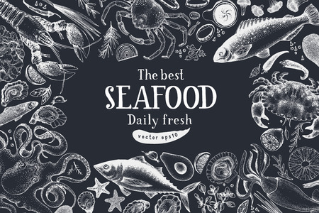 Seafood vector frame illustration. Can be use for restaurants menu, cover, packaging. Retro hand drawn banner template. Vintage background. Chalk board. Çizim