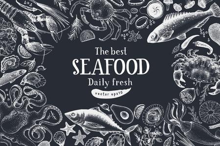 Seafood vector frame illustration. Can be use for restaurants menu, cover, packaging. Retro hand drawn banner template. Vintage background. Chalk board. Ilustração