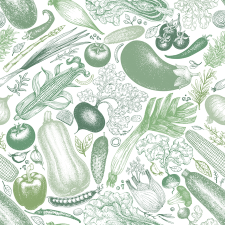 Vegetables vector seamless pattern. Vintage engraved style background. Hand drawn illustration. Can be use for menu, packaging, farm market products.