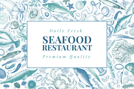 Seafood vector illustration. Can be use for restaurants menu, cover, packaging. Retro hand drawn banner template. Vintage background. Illustration