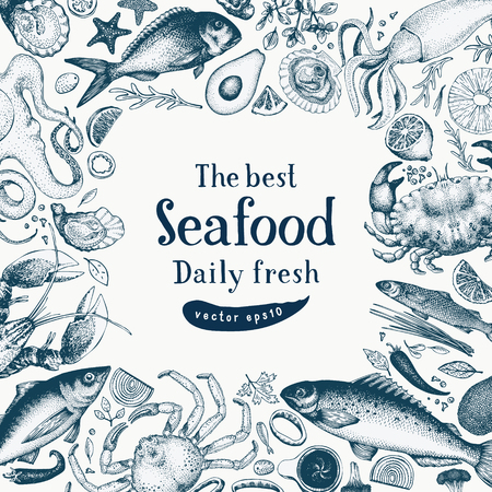 Seafood vector frame illustration. Can be use for restaurants menu, cover, packaging. Retro hand drawn banner template. Vintage background. Standard-Bild - 101212609