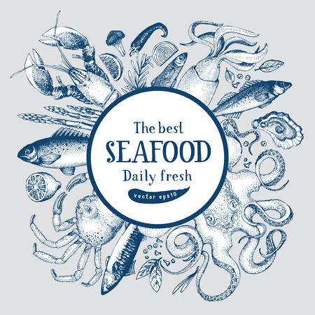 Hand drawn frame with seafood and fishes. Vector background for design menu, packaging, recipes, label, fish market, seafood products. Hand drawn retro illustration. Food banner template. Ilustração